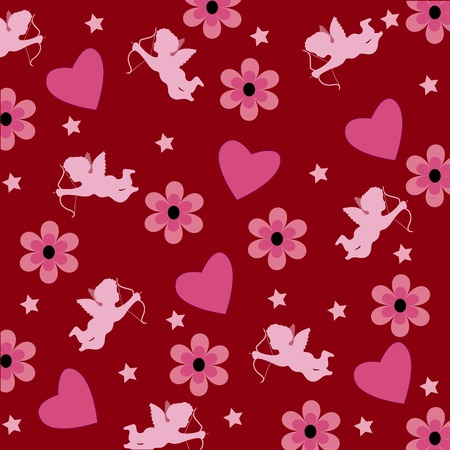 Wallpapers of love with cupid and heart pink. Vector