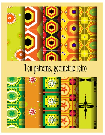 Seamless patterns with geometric patterns using alternating with white, orange and green Vector