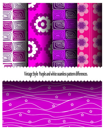 endlessly: Ten Vintage Style  Purple and white seamless pattern differences.Can use the surface endlessly for more wallpaper formats. Web page backgrounds; textured surface Stock Photo