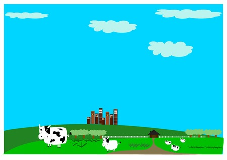 tall buildings: Pmo farm cow milk with landscaped gardens with tall buildings and mountains in the background modern dairy farm.