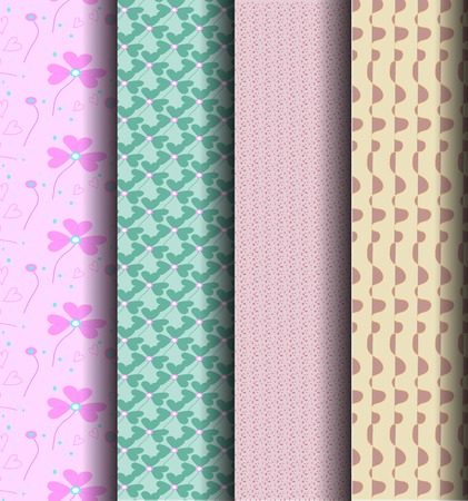 endlessly: sets Geometric patterns, pink, blue can be used endlessly.