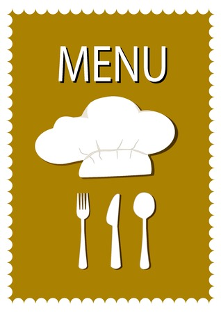 chef knife: Chef knife and fork meal cards, hats, using gray as a background component. Illustration
