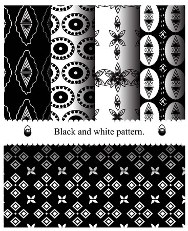 mod: Black and White Geometric Seamless Patterns. Retro Mod Backgrounds in Chevron, Polka Dot, Diamond, Checkerboard, Stars, Triangles, Herringbone and Stripes Patterns. Pattern Swatches with Global Colors Illustration