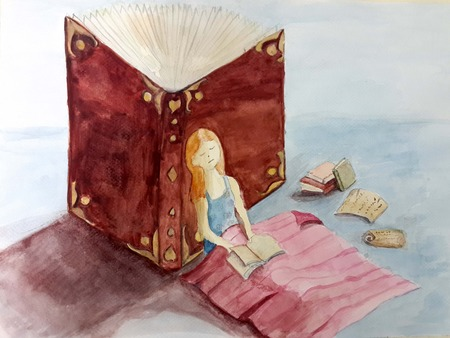 old people reading: Girl sleeping on a pile of old books. Watercolor illustrations.