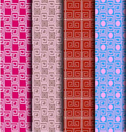 set Chinese Lattice Pattern seamless Vector illustration.