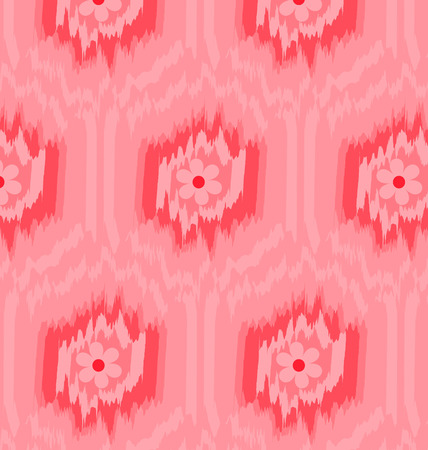 Seamless pattern Ikat pink background of floral.