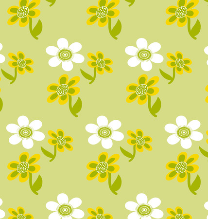 Background seamless pattern Cute Flowers, green and white Illustration