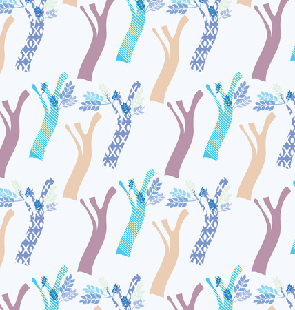 Abstract motifs of trees design. Background seamless