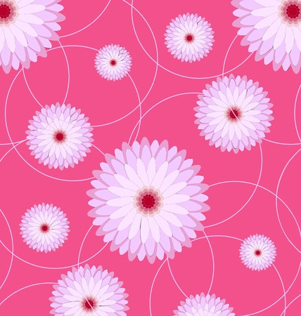 Lovely floral seamless pink geometric pattern illustration.