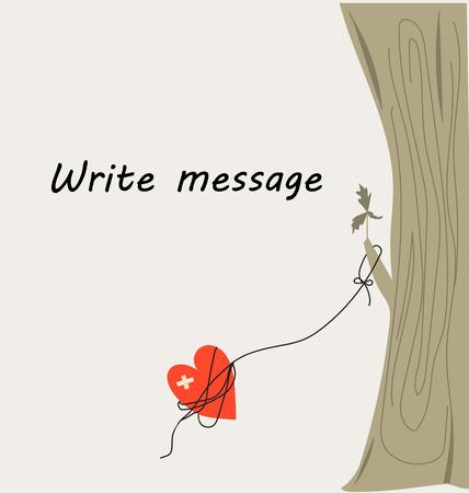 愛の描画カードハートは、木に結び付け。