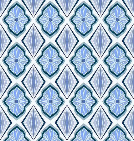 Motif floral géométrique en bleu transparente.