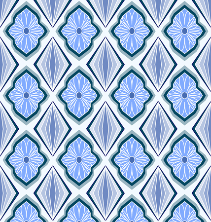 Geometric floral pattern in blue seamless.