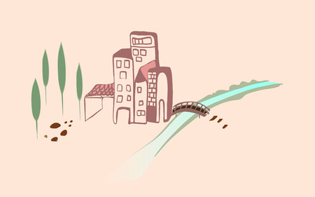 Scenery of the city with the river flowing illustration. Ilustração
