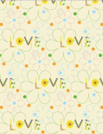A Vector cute drawing floral background. abstract message pattern. Ilustração