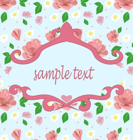 Vintage Floral Background Vector invitation bright pink flowers Ilustração