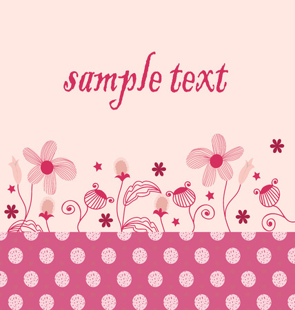 Vector invitation Background bright pink flowers