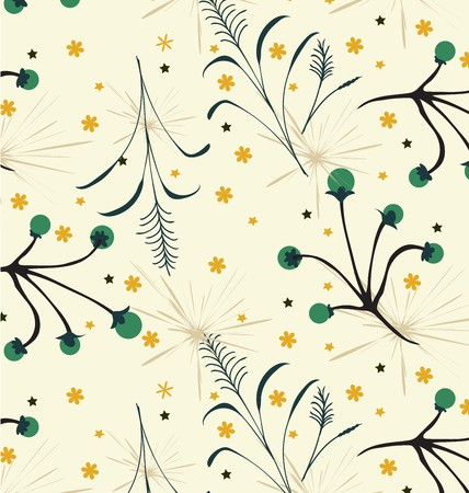 Seamless floral pattern on a green and white background.