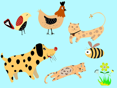 Pet design, abstract pattern, animal with dot pattern and colorful cute. Illustration