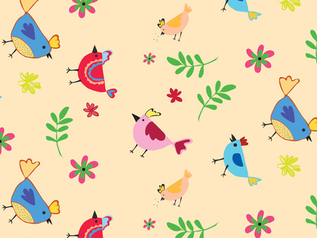 Vector seamless pattern with colorful chicken theme. Ilustrace