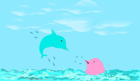 Rest on coast of island with dolphins vector