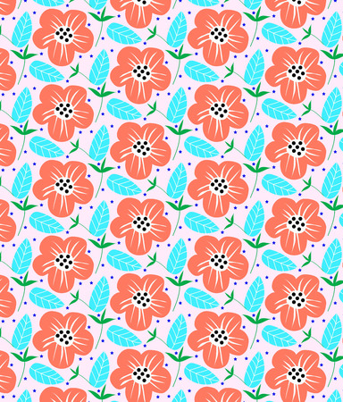An vector illustration of colourful flower pattern Çizim