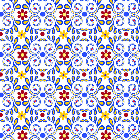 Seamless Geometry pattern blue  flowers on White background suitable for fabric pattern. Wallpaper and Tile Textiles Çizim
