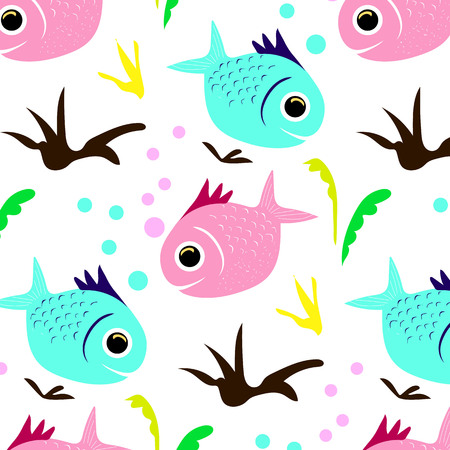 Seamless pattern Texture is fabulous flower and fish