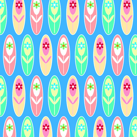 Geometric backgrounds, pink flowers and blue seamless patterns.