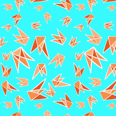 Paper folding bird concept geometric shapes seamless pattern background Orange and blue 矢量图像