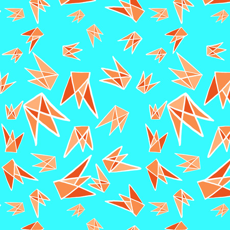 Paper folding bird concept geometric shapes seamless pattern background Orange and blue Illustration