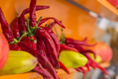 Hot peppers and other types that stand out for their color and diversity once exposed in the market along with other vegetables