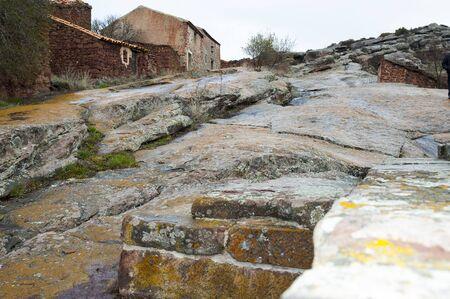 Rhodes, the village of red sandstone  Sierra de Albarrac?n, Teruel Aljibe of Muslim origin Cultural Park of the Sierra de Abarrac?n. R?ddenas, Teruel (Aragón, Spain)