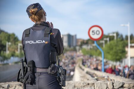 Spain,Valencia, Alicante 05/02/2019  The feast of the Holy Face that  National police watch the pilgrimage. Editorial