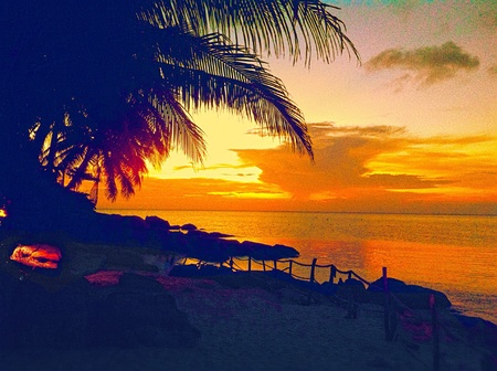 nangyuan: Sunset on the beach at Nangyuan island in Thailand
