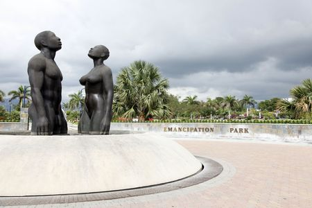 redemption: Kingston, Jamaica - December 20, 2009 - Redemption Song monument in Emancipation Park.