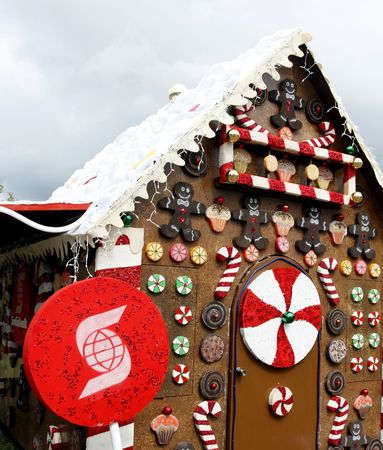 �mancipation: Kingston, Jamaica - December 20, 2009: Scotiabanks Gingerbread House in Emancipation Park.