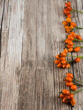 Autumnal background: fruits of dog rose on wooden background