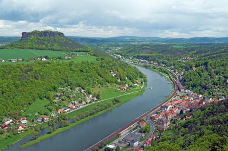 River Elbe, city Koenigstein and mesa at Lilienstein Saxony, Germany