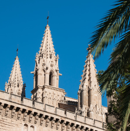 palma: Closeup of the cathedral of Palma de Mallorca, Spain Stock Photo