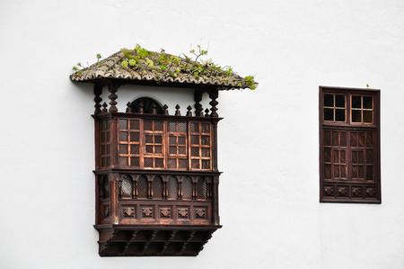 Wooden balcony and window shutter at Tenerife, Canary Islands Stock Photo