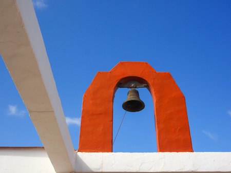 Details of a church with church bell, Fuerteventura, Canary Islands Stock Photo