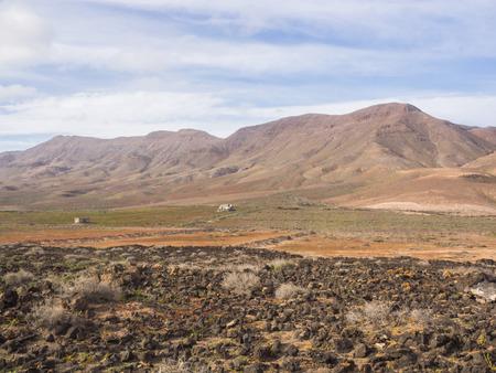 lava field: Landscape with lava field at Fuerteventura, Canary Islands Stock Photo