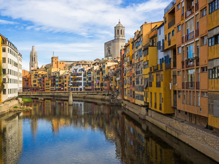 felix: Colorful houses at river Onyar in Girona, Catalonia, Spain