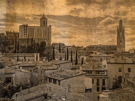 felix: Postcard of Girona with cathedral and Santa Maria basilica Sant Feliu, Catalonia, Spain, in vintage look Stock Photo