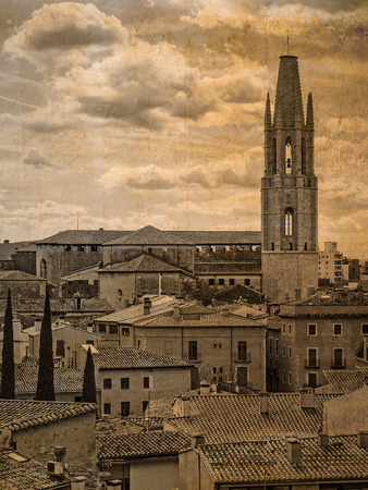 Postcard with the exterior view of the cathedral of San Felix of Girona, Catalonia, Spain, in vintage look