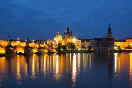 crusaders: Night scene of the city Prague, Czech Republic Stock Photo