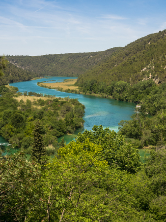 Aerial view of the scenery of the Krka National Park with river Krka at Croatia, near Sibenik