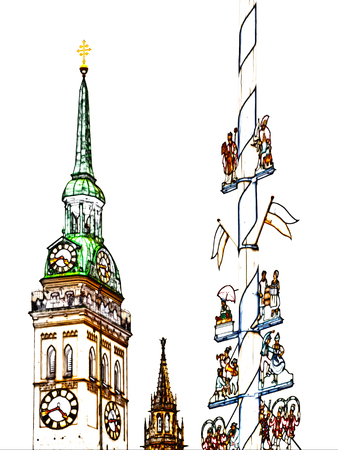 Drawing of the church of St. Peter and Maypole at the traditional market Viktualienmarkt in Munich, Bavaria, Germany