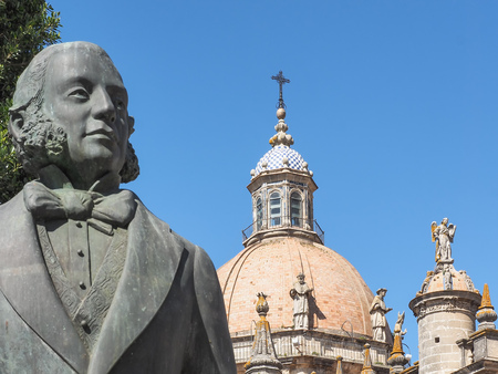 Cathedral of San Salvador and monument of Tio Pepe in Jerez de la Frontera, Andalusia, Spain