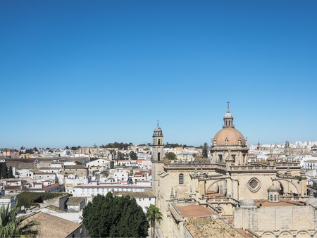 Aerial view of the city Jerez de la Frontera, Andalusia, Spain, with the cathedral San Salvador
